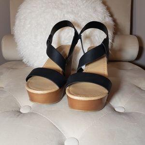City Classified black wedge sandal